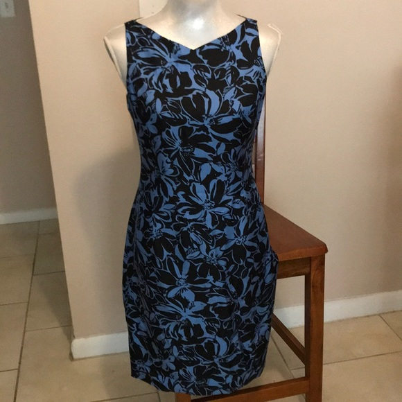 c5a4d3af96893 Ann Taylor black blue floral silk dress